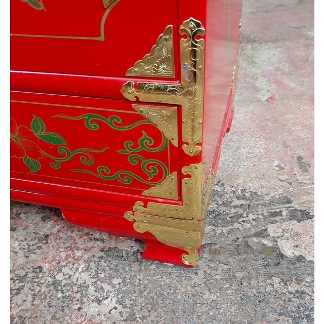 Red Chinese Beautiful Red Lacquered Commodes -A Pair For Sale - Image 8 of 11