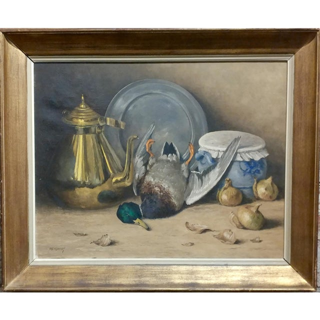 """Moeng - Still Life w/Dead Game -19th century Oil painting oil painting on canvas -Signed frame size 28 x 34"""" canvas size..."""