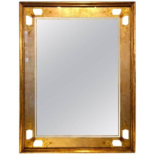 Hollywood Regency Jansen Églomisé Wall or Console Mirror Stamped on Reverse For Sale