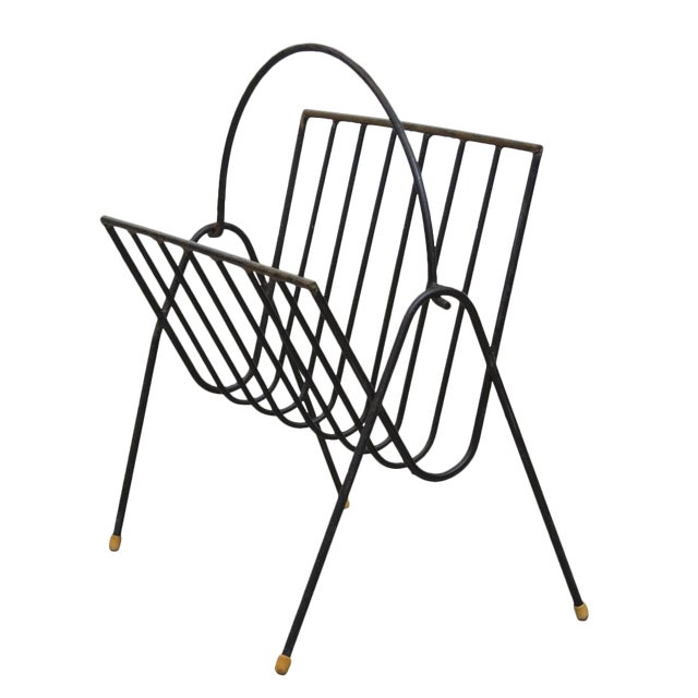 Carl Aubock Style Black Wire Magazine Rack - Image 1 of 9