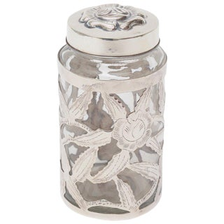 1950s Mexican Sterling Silver Overlay Glass Vessel or Container Jar Vintage For Sale