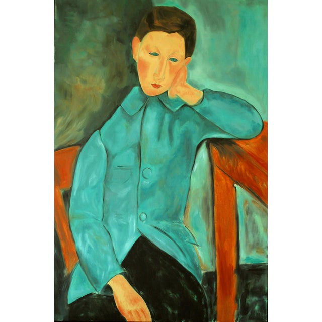 """Boy in Green"" Oil Painting After Modigliani by Trixie Pitts - Image 1 of 5"