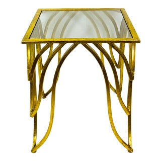 Modern Gold Metal Glass Table For Sale