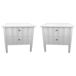 Modern White Nightstands With Scalloped Detail on Drawers and Sides For Sale