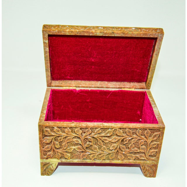 Mid 20th Century Hand-Carved Stone Jewelry Box Rajasthan, India For Sale - Image 5 of 13