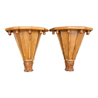Boho Chic Rattan Wall Sconces-Pair For Sale