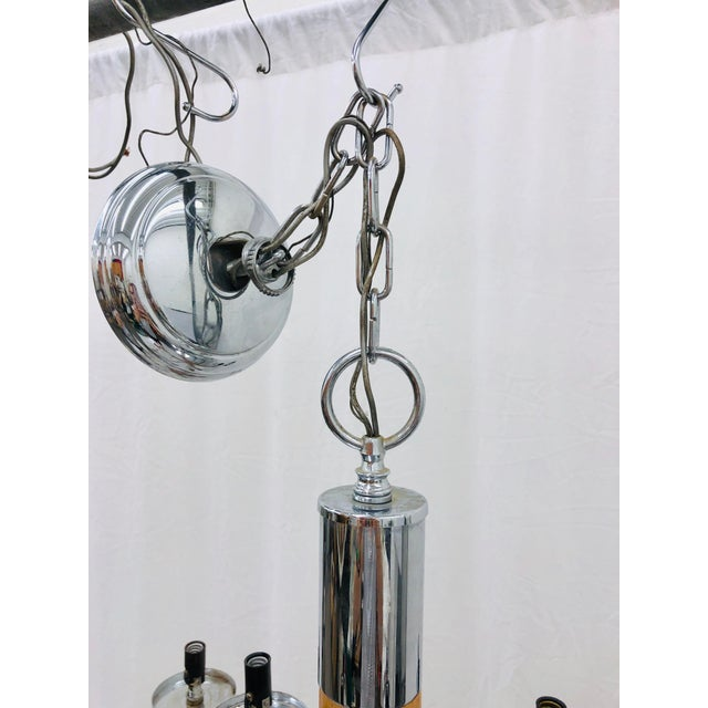 Brown Vintage Mid Century Modern Wood & Chrome Chandelier For Sale - Image 8 of 9