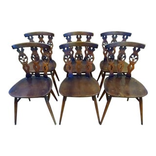 1950s French Country Solid Oak Dining Chairs - Set of 6