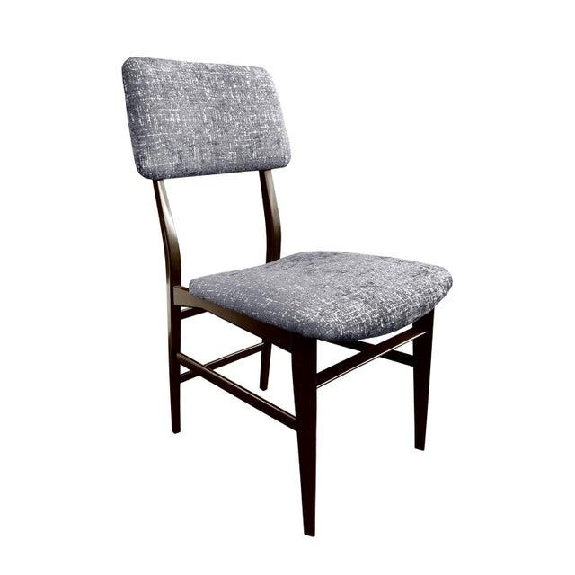 1950s Midcentury Italian Vittorio Dassi Wood Frame Dining Chair in Steel Blue Velvet For Sale - Image 5 of 5