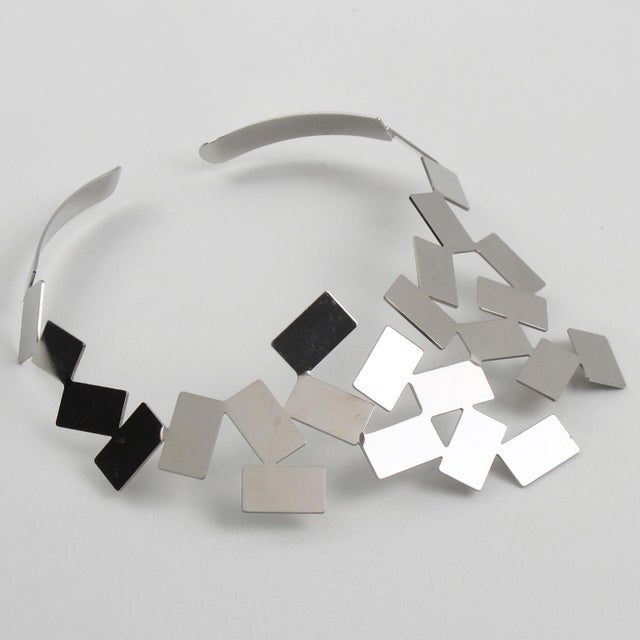 2010s Mario Trimarchi for Alessi Stainless Steel Futurist Collar Necklace For Sale - Image 5 of 10