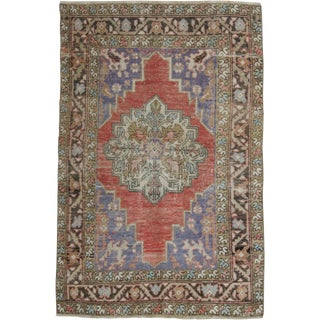 1960s Vintage Turkish Handwoven Rug - 3′8″ × 5′7″ For Sale