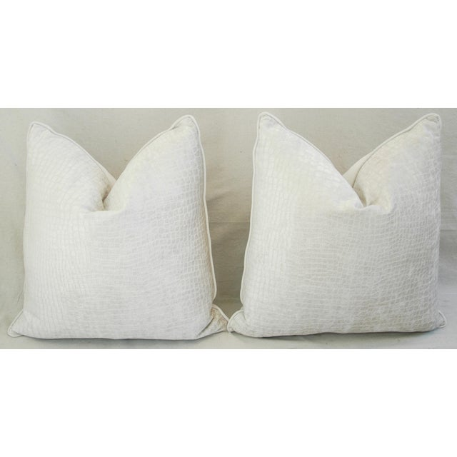 "Boho Chic Bone White Crocodile Velvet Feather/Down Pillows 24"" Square - Pair For Sale - Image 11 of 12"