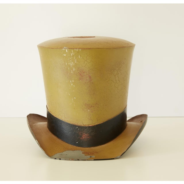 19th Century French Polychrome-Painted Tin Top Hat Trade Sign For Sale - Image 4 of 8