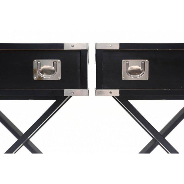 Pair of ebonized side tables nickeled brass. Modiell Contro^le. circa 1980 Measures: L 60 cm, H 60 cm, D 35 cm.