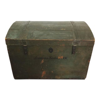 Antique Czech Immigration Wood Trunk Chest For Sale
