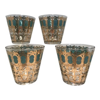 Culver Gold & Emerald Scroll Whisky Glasses - Set of 4