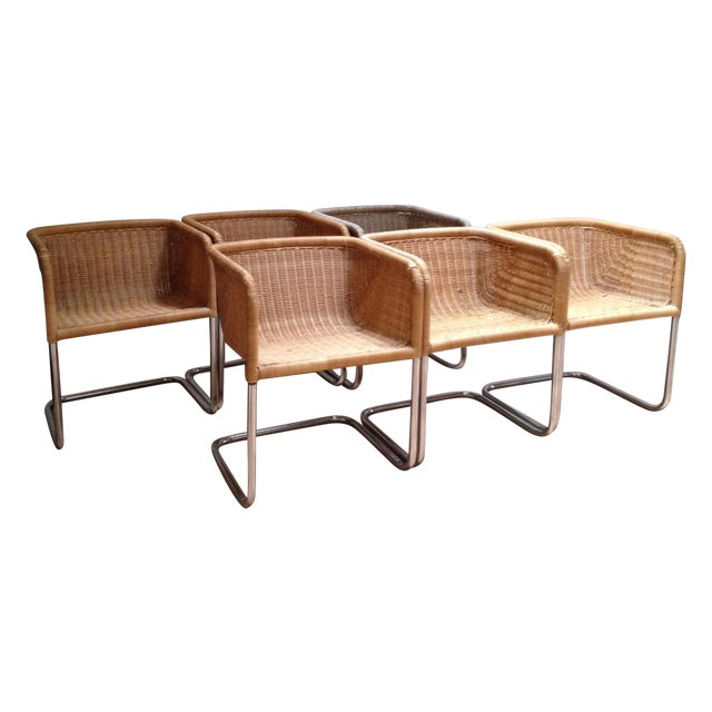 Harvey Probber Wicker & Chrome Chairs- Set of 6 - Image 1 of 7