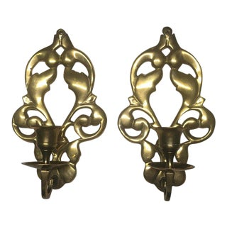 Vintage Brass Candlestick Sconces - A Pair For Sale