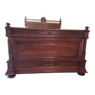 Henry II Style French Walnut Bed For Sale