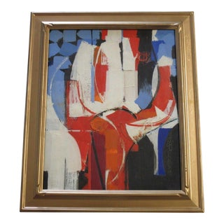 Masterful Painting Abstract Expressionism Signed Non Objective 1950's Vintage For Sale
