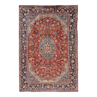 Mid 20th Century 10'x15' Vintage Mahal Wool Rug For Sale