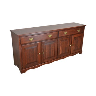 Woxall Woodcraft Solid Cherry Hand Crafted Long Sideboard Buffet For Sale
