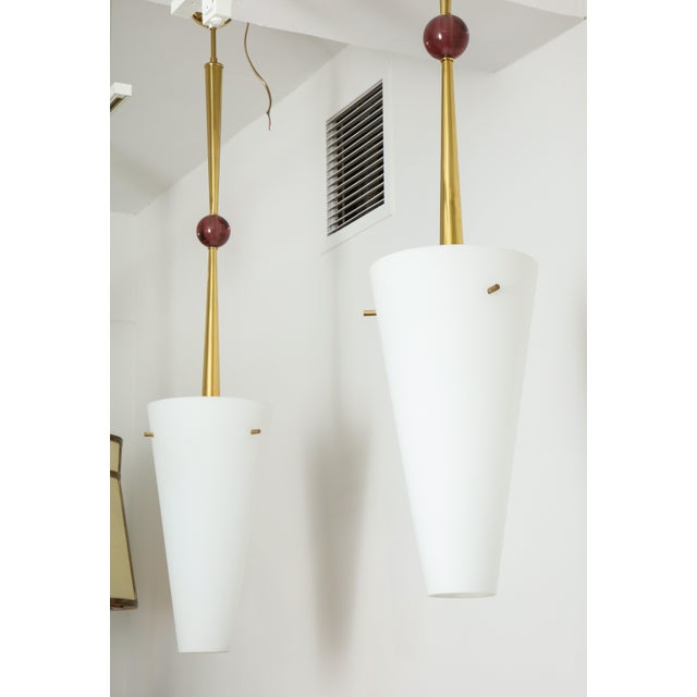 1980s Opaline Shade Pendant Lights - a Pair For Sale In New York - Image 6 of 9