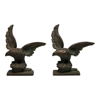 Early 20th Century Solid Bronze Eagle Bookends - A Pair