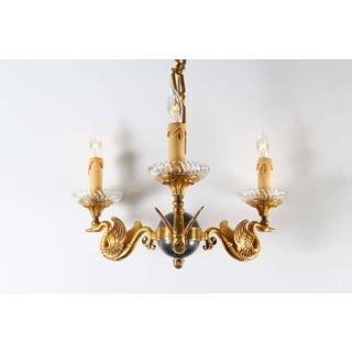1940s Italian Empire Celestial Globe Chandelier With Swan Motif Arms Preview