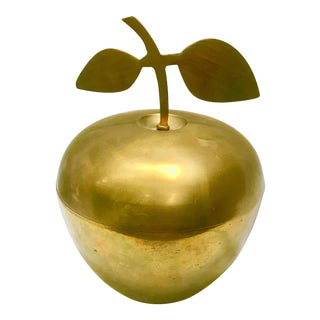 1970s Boho Chic Brass Apple Box For Sale