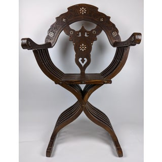 Late 19th Century Antique Carved and Inlayed Syrian Savonarola Hall Chair Preview