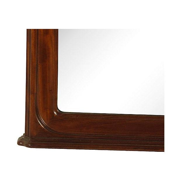 19th-C. British Colonial mahogany pier mirror with elaborate hand carved crest.
