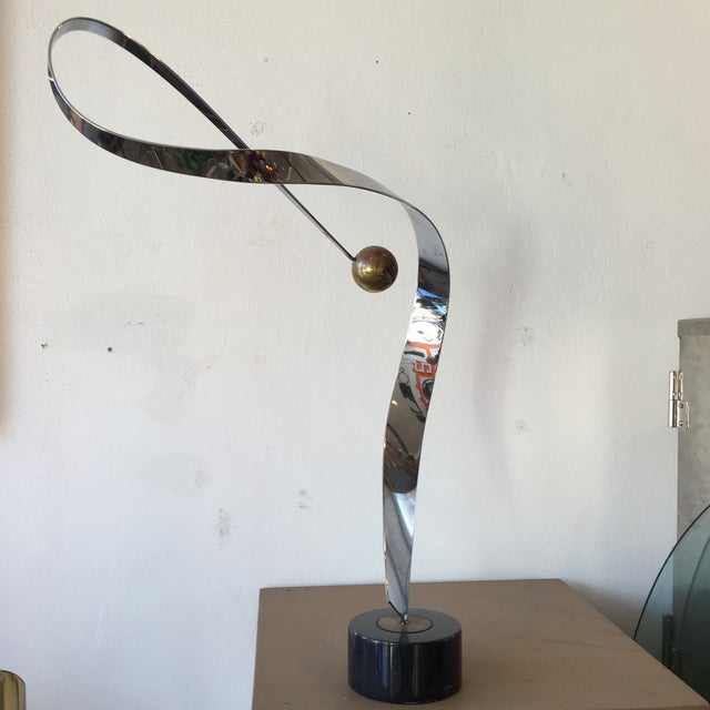 Minimalist Modern Metal Sculpture on Marble Base - Image 8 of 10