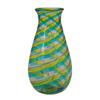 A Fratelli Toso 'a Canne' Vase With Aventurin, Murano, Ca. 1965 For Sale