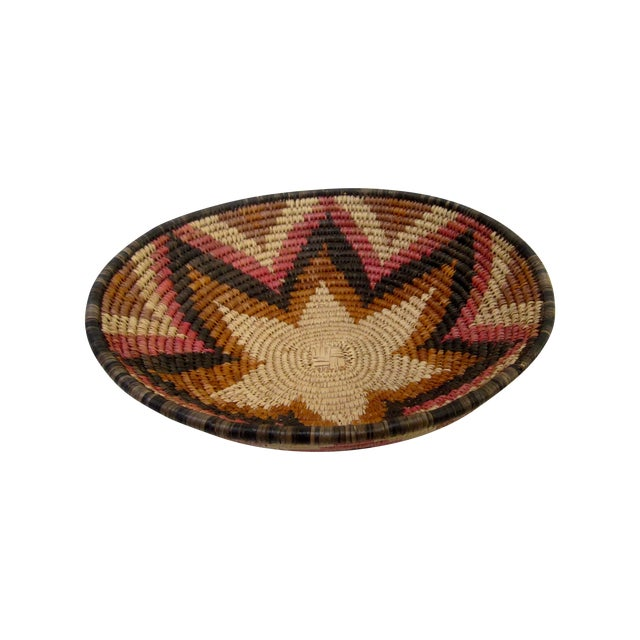 Hand Woven Natural Fiber Large Basket - Image 1 of 6