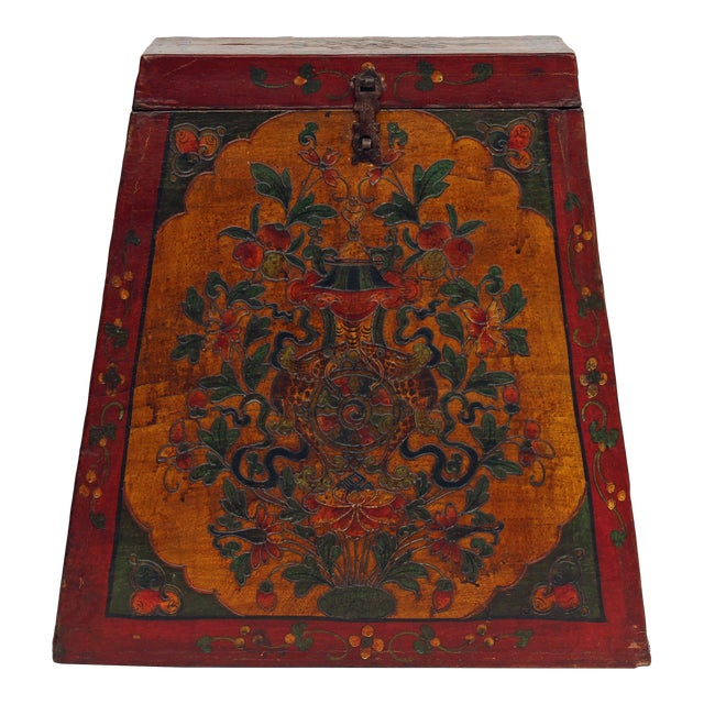 Chinese Tibetan Red Yellow Floral Graphic Trunk Box Table For Sale