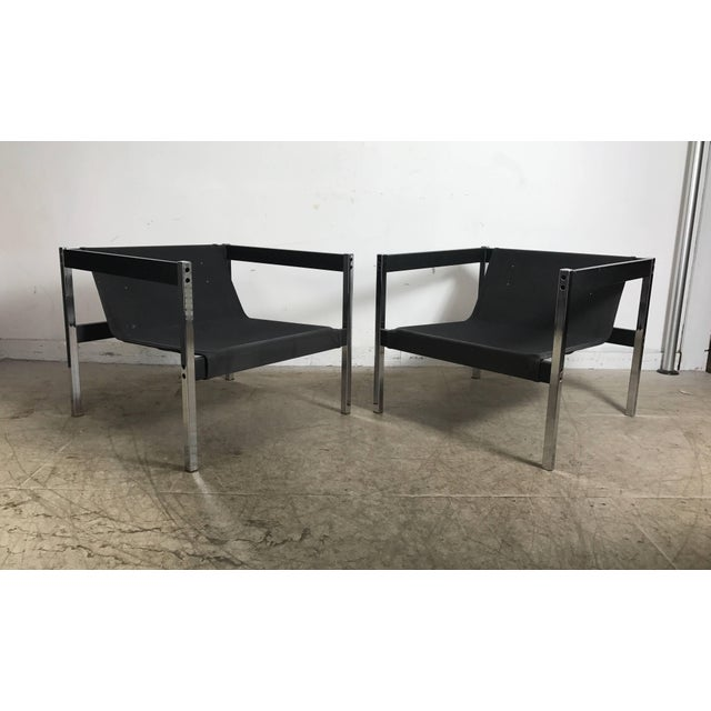 Classic 1970s Bauhaus Style Chrome and Wood Sling Chairs - A Pair For Sale In Buffalo - Image 6 of 9