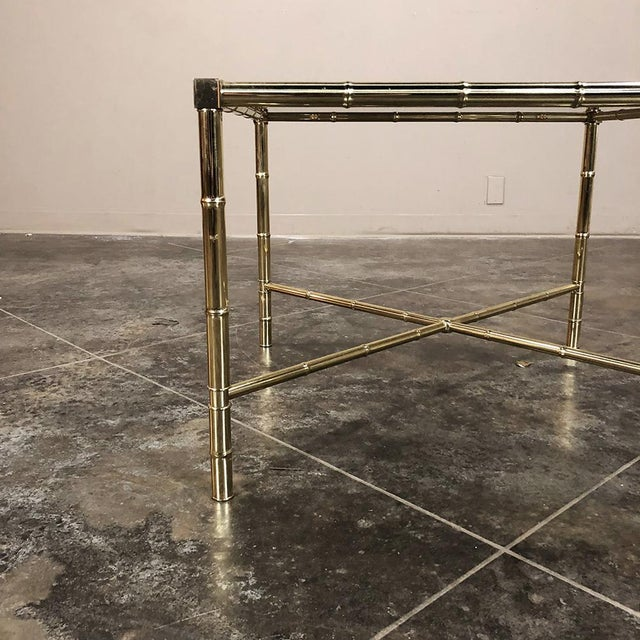 Mid Century Brass Smoked Glass Top End ~ Coffee Table For Sale - Image 9 of 12