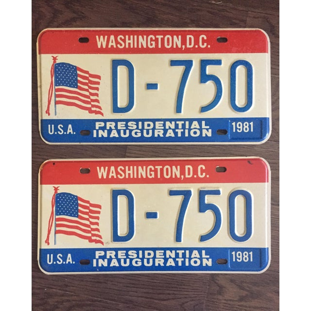 Presidential Inauguration License Plates 1981 - A Pair - Image 2 of 6