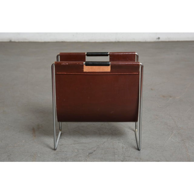 Mid-Century Leather and Chrome Magazine Stand - Image 5 of 9