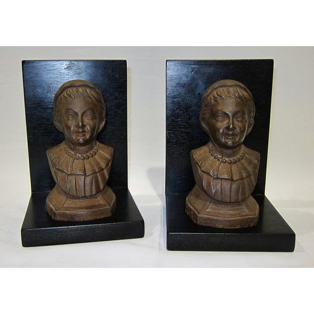 Vintage Sarreid LTD Cast Iron & Wood Bookends - A Pair - Image 6 of 6