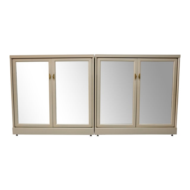 Antiqued Gold Mirrored Cabinets - Set of 2 For Sale