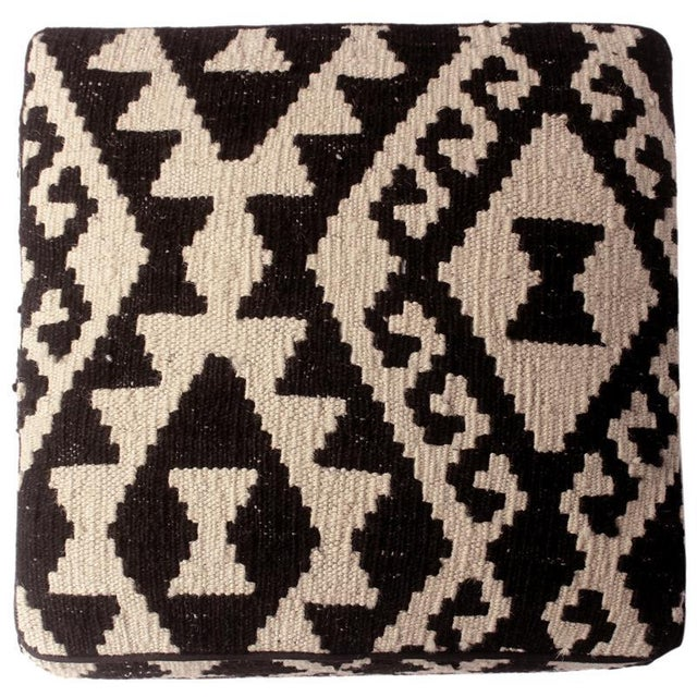 Arshs Dierdre Ivory/Black Kilim Upholstered Handmade Ottoman For Sale In New York - Image 6 of 8