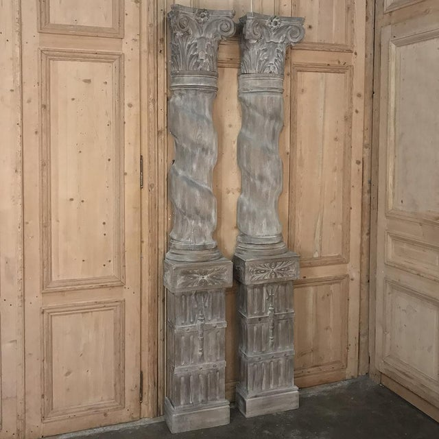 Pair French Architectural Corinthian Weathered Oak Hand Carved Columns For Sale - Image 13 of 13