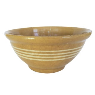 Antique Yellow and White Striped Stoneware Crock Bowl For Sale