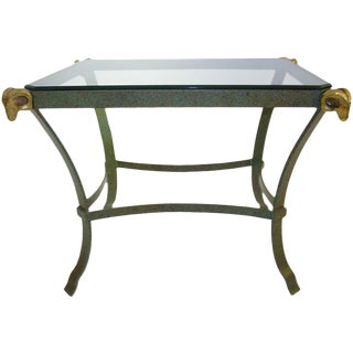 Maison Jansen Style Brass and Metal End Table With Ram's Heads For Sale