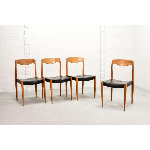 Set of Four Mid-Century Scandinavian Design Leatherette Dining Chairs After n.o. Moller, Early Edition Model 71, Denmark, 1950s For Sale - Image 12 of 12