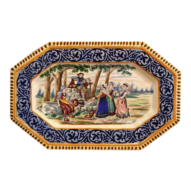 Large 19th Century French Hand-Painted Ceramic Platter From Henriot Quimper For Sale