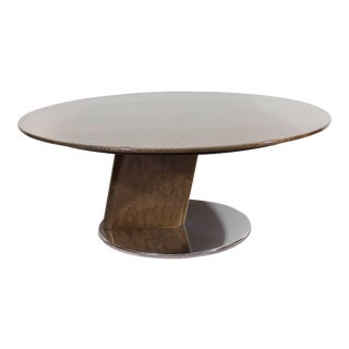 Modern Saporiti Coffee Table in Lacquered Birdseye Maple on Steel For Sale