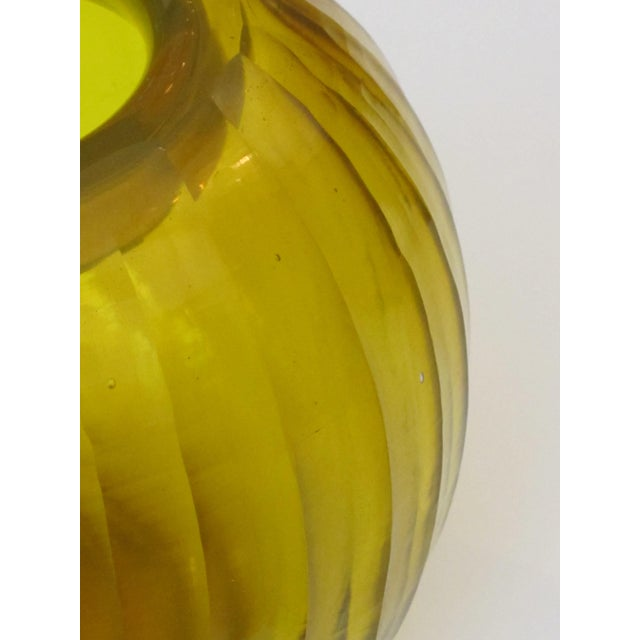 A Well-Executed Bohemian Glass Orb-Form Citrine Colored Vase With Hand-Carved Faceted Decoration For Sale - Image 4 of 5